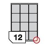 Samoprzylepne etykiety papierowe, zaokrąglone rogi do drukarek laserowych i kopiarek - 12 etykiet na arkuszu