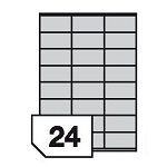 Samoprzylepne etykiety foliowe polietylenowe, elastyczne do wszystkich rodzajów drukarek - 24 etykiety na arkuszu