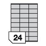Samoprzylepne etykiety foliowe poliestrowe metalizowane do drukarek laserowych i kopiarek - 24 etykiet na arkuszu