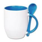Kubek do sublimacji z łyżeczką, kolorowym uchem i wnętrzem - niebieski