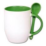 Kubek do sublimacji z łyżeczką, kolorowym uchem i wnętrzem - zielony
