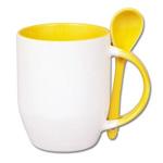 Kubek do sublimacji z łyżeczką, kolorowym uchem i wnętrzem - żółty