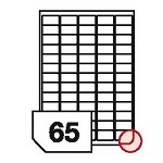 Samoprzylepne etykiety papierowe, zaokrąglone rogi do drukarek laserowych i kopiarek - 65 etykiet na arkuszu