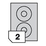 Samoprzylepne etykiety papierowe CD / DVD kolorowe do wszystkich rodzajów drukarek - 2 etykiety na arkuszu