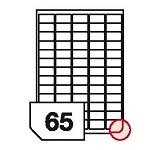 Samoprzylepne etykiety papierowe, wielokrotnego odklejania, zaokrąglone rogi do wszystkich rodzajów drukarek - 65 etykiet na arkuszu