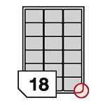 Samoprzylepne etykiety foliowe poliestrowe, zaokrąglone rogi do drukarek atramentowych- 18 etykiet na arkuszu