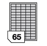 Samoprzylepne etykiety foliowe poliestrowe, prześwitujące do drukarek laserowych i kopiarek - 65 etykiet na arkuszu