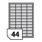 Samoprzylepne etykiety foliowe poliestrowe, prześwitujące do drukarek laserowych i kopiarek - 44 etykiety na arkuszu