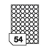 Samoprzylepne etykiety foliowe poliestrowe, prześwitujące do drukarek laserowych i kopiarek - 54 etykiety na arkuszu