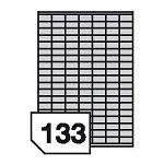 Samoprzylepne etykiety foliowe poliestrowe metalizowane do drukarek laserowych i kopiarek - 133 etykiety na arkuszu