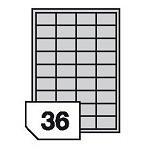 Samoprzylepne etykiety foliowe poliestrowe metalizowane do drukarek laserowych i kopiarek - 36 etykiet na arkuszu