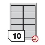 Samoprzylepne etykiety foliowe poliestrowe metalizowane zaokrąglone rogi do drukarek laserowych i kopiarek - 10 etykiet na arkuszu