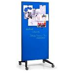 Szklana tablica suchościeralna magnetyczna mobilna - niebieska