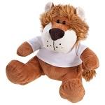 Brązowy pluszowy lew z białą koszulką do nadruku