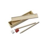 Zestaw szkolny - piórnik drewniany z frontem - linijką do nadruku