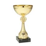 Puchar metalowy z marmurową podstawą - złoty