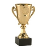 Puchar z uszami i marmurową podstawą - złoty
