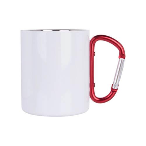 Kubek do sublimacji metalowy biały z czerwoną klamrą do przypięcia