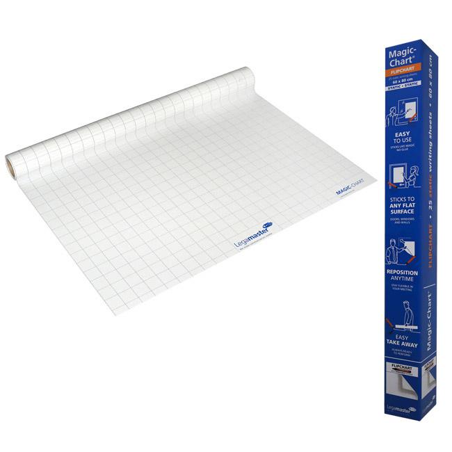 Magic Chart - elektrostatyczny niesuchościeralny flipchart z markerem - biała folia w kratkę