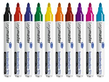 Komplet markerów do tablic suchościeralnych (czarny, czerwony, niebieski, zielony, żółty, pomarańczowy, brązowy, fioletowy, różowy, błękitny)