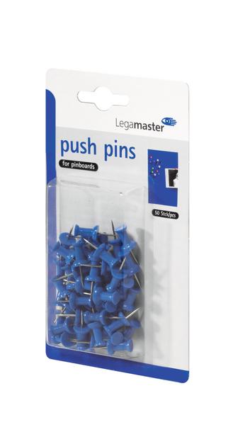 Niebieskie pinezki beczułki do tablic korkowych - 50 szt.