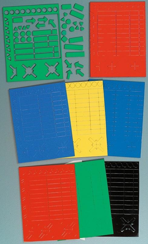 Różne symbole magnetyczne - czerwone prostokąty, koła, trójkąty i strzałki