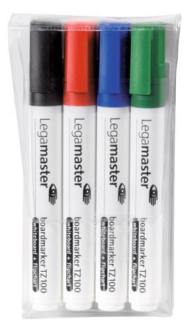 Komplet markerów do tablic suchościeralnych (czarny, czerwony, niebieski, zielony)