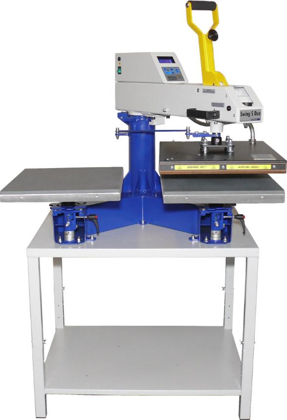 Swing Duo S - prasa transferowa równoległa z dwoma stołami roboczymi, otwieranie automatyczne