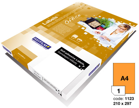 Pomarańczowy fluorescencyjny papier samoprzylepny do drukarek laserowych i kopiarek - 100 arkuszy