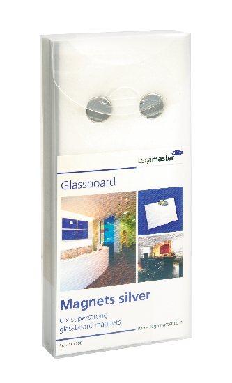 Okrągłe magnesy neodymowe do tablic szklanych - srebrne