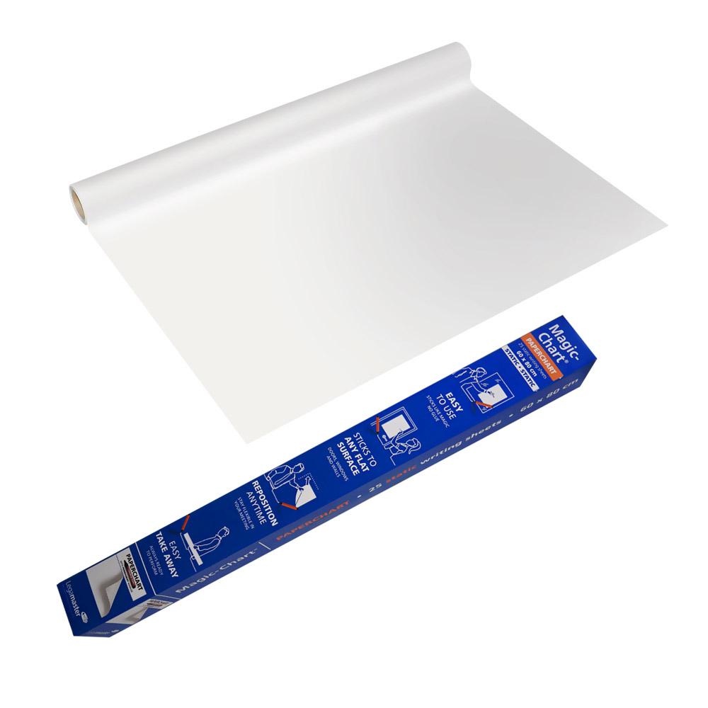 Magic Chart paperchart - elektrostatyczny, niesuchościeralny flipchart z markerem - biała folia gładka