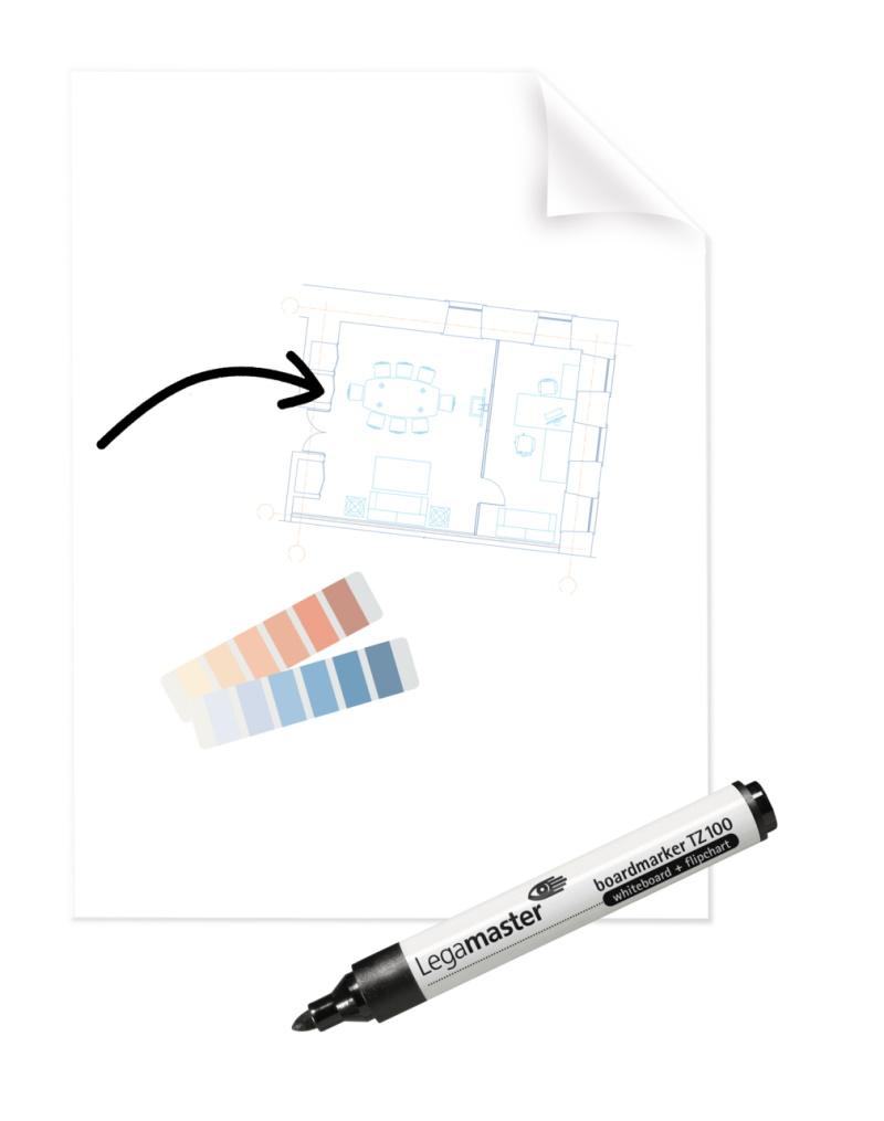 Magic Chart - elektrostatyczny suchościeralny flipchart z markerem - przezroczysta folia