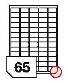 Samoprzylepne etykiety papierowe fotograficzne, zaokrąglone rogi do drukarek atramentowych - 65 etykiet na arkuszu