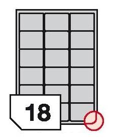 Samoprzylepne etykiety foliowe poliestrowe zaokrąglone rogi do drukarek laserowych i kopiarek - 18 etykiet na arkuszu