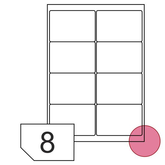 Samoprzylepne etykiety papierowe, zaokrąglone rogi do drukarek laserowych i kopiarek - 8 etykiet na arkuszu